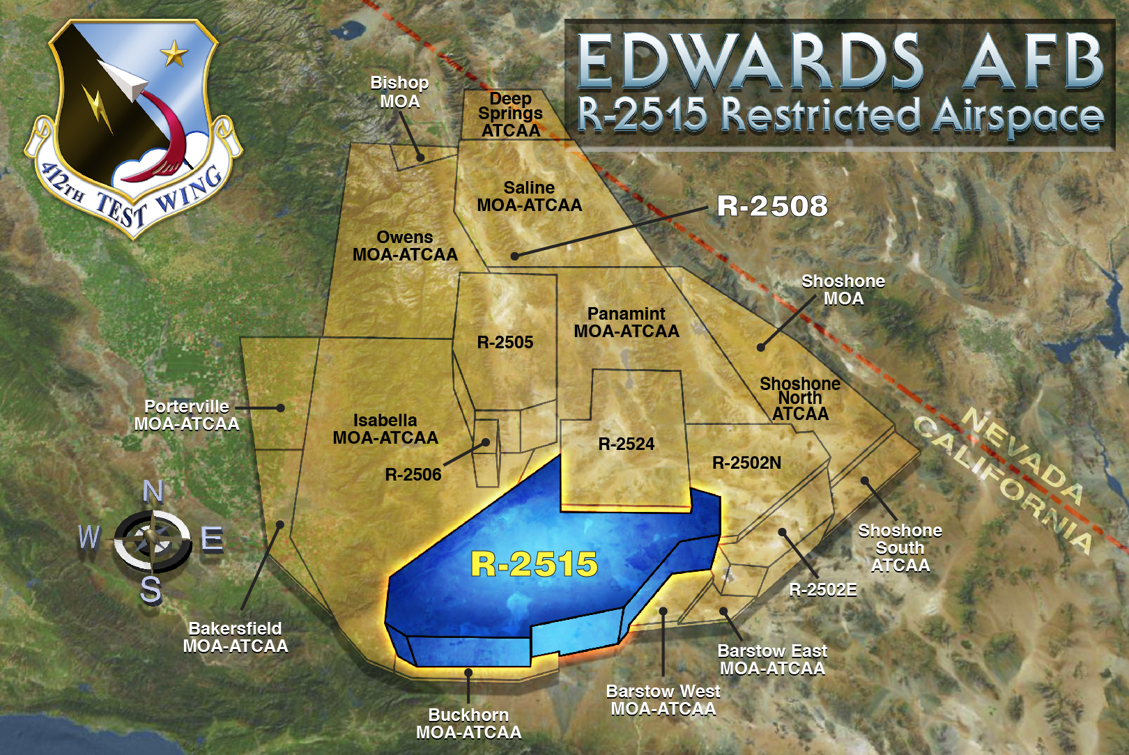 R Airspace - Edwards afb map